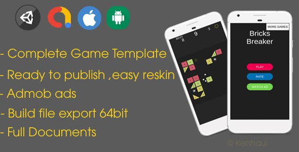 Bricks Breaker - Unity Game Template