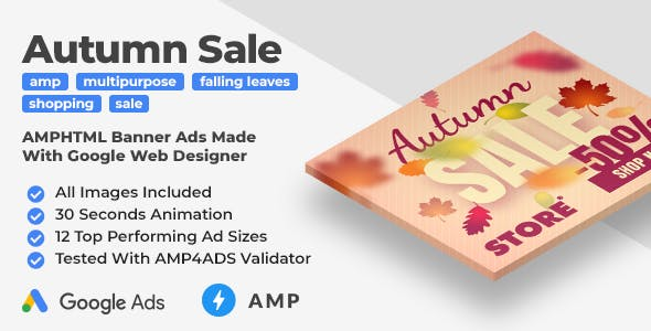 Autumn Sale - Shopping Animated AMP HTML Banner Ad Templates (GWD, AMPHTML)