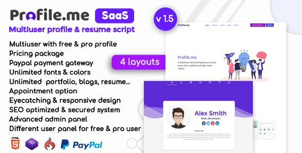 Profile.me - Saas Multiuser Profile & Resume Script