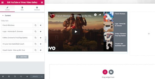 YouTube or Vimeo Gallery Widget for Elementor Page Builder WordPress Plugin