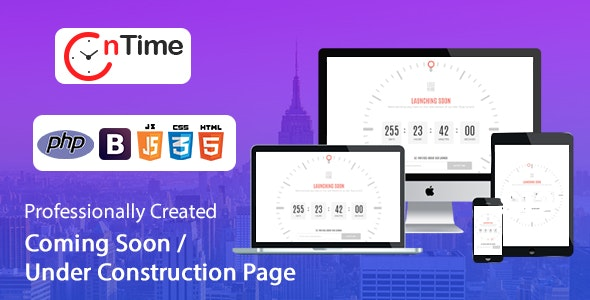 OnTime - Coming Soon / Under Construction / Time Counter PHP Script with Admin panel - CodeCanyon Item for Sale