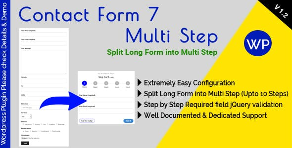 Contact Form 7 Multi Step - Split Long Form into Multi Step