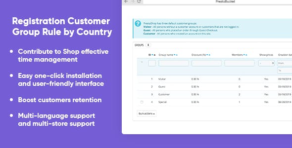 Registration Customer Group Rule by Country