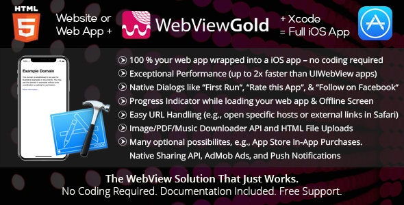 WebViewGold for iOS – WebView URL/HTML to iOS app + Push, URL Handling, APIs & much more! - CodeCanyon Item for Sale