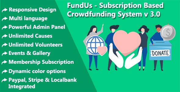FundUs - Subscription Based Crowdfunding System - CodeCanyon Item for Sale