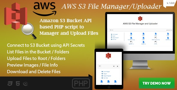 AWS S3 File Manager and Uploader - S3 Bucket API based PHP Script - CodeCanyon Item for Sale