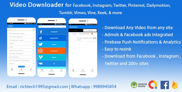 Video Downloader for Facebook Instagram Twitter Pinterest Dailymotion Tumblr Vimeo Vine Keek & more - CodeCanyon Item for Sale