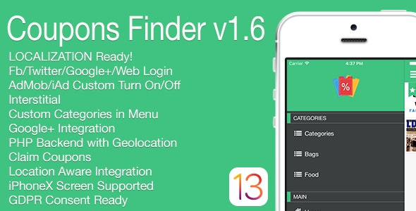 Coupons Finder Full iOS Application v1.6 - CodeCanyon Item for Sale