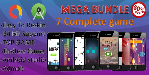 7 Mega Bundle(android studio+admob+ complete game) - CodeCanyon Item for Sale