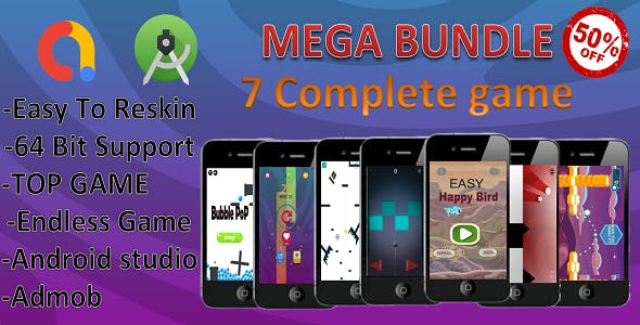 7 Mega Bundle(android studio+admob+ complete game)