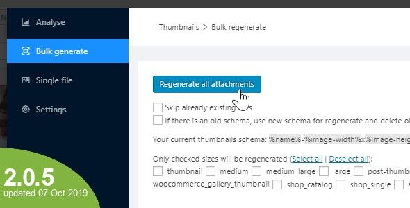 Wordpress Force Regenerate Thumbnails Plugin by Matthiasweb