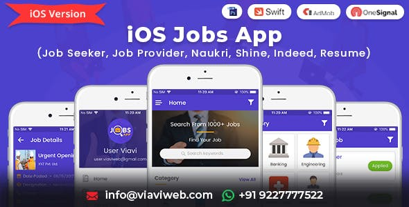 iOS Jobs App (Job Seeker, Job Provider, Naukri, Shine, Indeed, Resume)
