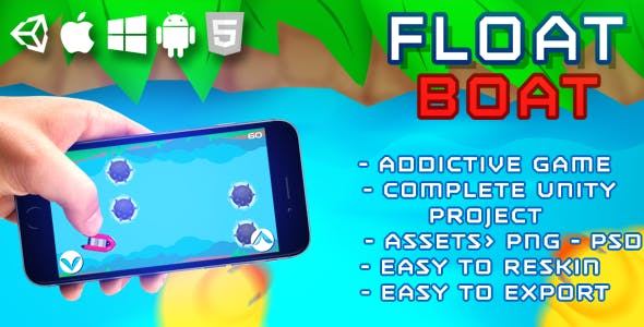 Float Boat - HTML5 Game (HTML5 Build + Unity Project + Assets)