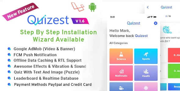 Quizest - Complete Quiz Solutions With Android App And Interactive Admin Panel - CodeCanyon Item for Sale
