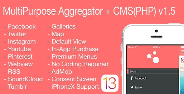 Multi-Purpose Aggregator + CMS(PHP) iOS Application v1.5