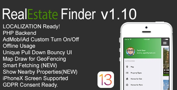 RealEstate Finder Full iOS Application v1.10 - CodeCanyon Item for Sale