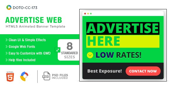 Advertise Here Web HTML5 Banners - 8 Sizes