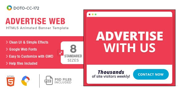 Advertise Here HTML5 Banners - 8 Sizes