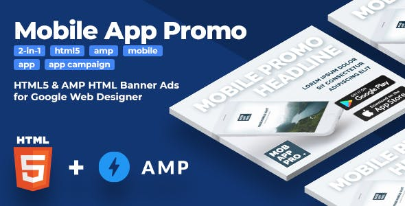 Mobile App Promo - HTML5 & AMPHTML Animated Banners (2-in-1)