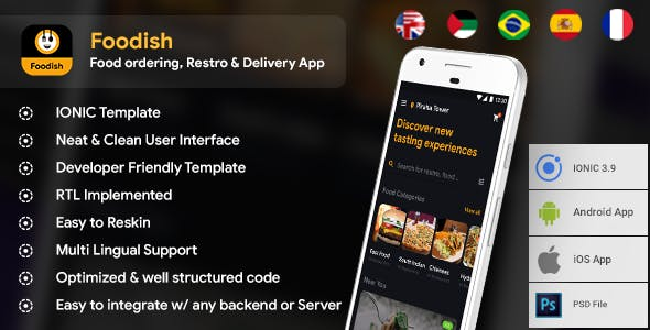 Food Ordering & Delivery Android App + iOS App Template   Foodish (HTML+CSS files IONIC 3)