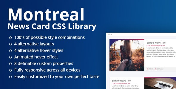 Montreal - News Card CSS Library - CodeCanyon Item for Sale