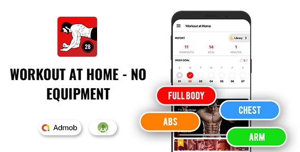 Workout at home - No equipment - Native Android app - CodeCanyon Item for Sale