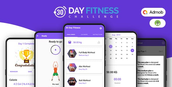 30 Days Fitness Challenge - Native Android mobile app