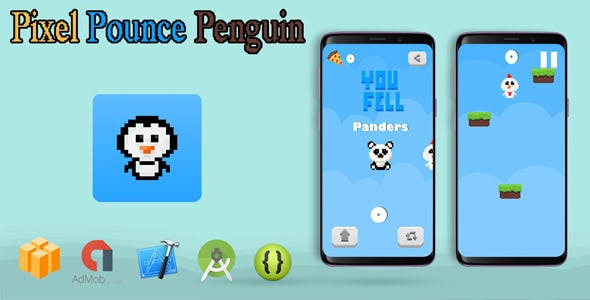 Pixel Pounce Penguin - Buildbox Game Template