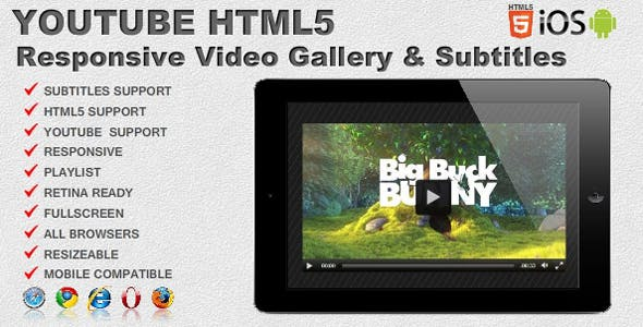 Responsive Video Gallery Youtube HTML5 & Subtitles