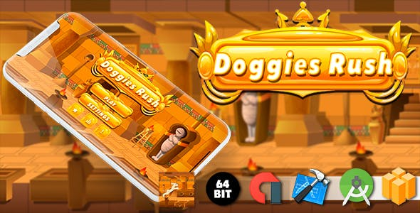 Doggies Rush Android iOS Buildbox Game Template with AdMob Interstitial Ads