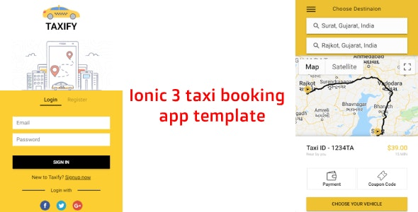 Ionic 3 taxi - cab booking app template (Android - IOS) - CodeCanyon Item for Sale