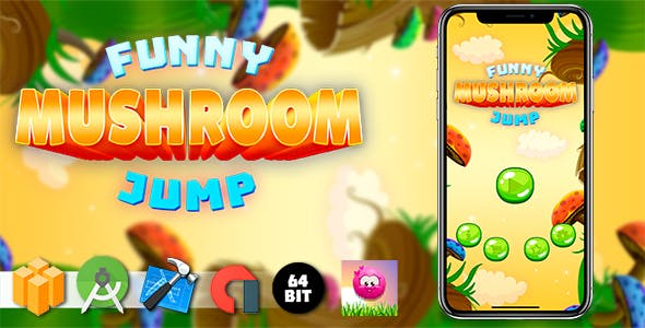 Funny Mushroom Jump Android iOS Buildbox Game Template with AdMob Interstitial Ads
