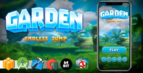 Garden Jump Android iOS Buildbox Game Template with AdMob Interstitial Ads
