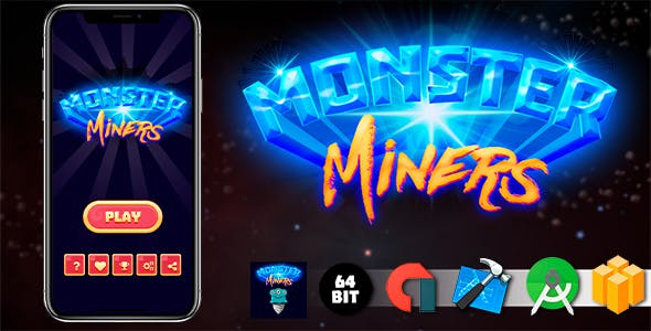 Monster Miners Android iOS Buildbox Game Template with AdMob Interstitial Ads