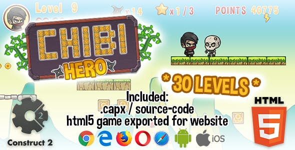 Chibi Hero Game - HTML5 Construct 2 Game (.capx)