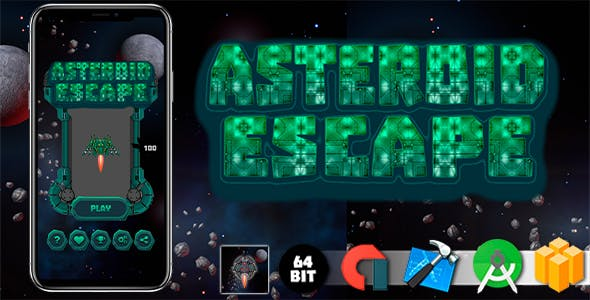 Asteroid Escape Android iOS Buildbox Game Template with AdMob Interstitial Ads