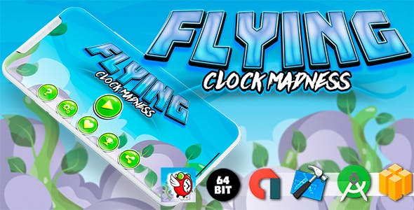 Flying Clock Madness Android iOS Buildbox Game Template with AdMob Interstitial Ads