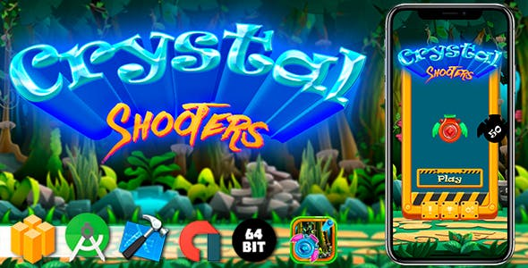 Crystal Shooters Android iOS Buildbox Game Template with AdMob Interstitial Ads