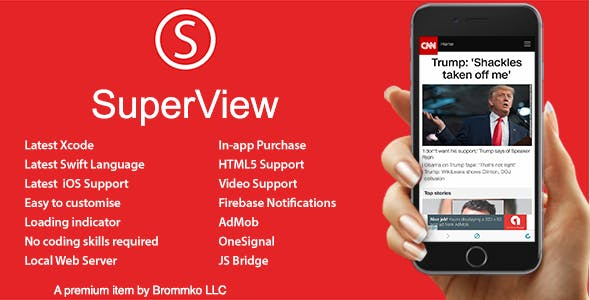 SuperView - WebView App for iOS with Push Notification, AdMob, In-app Purchase