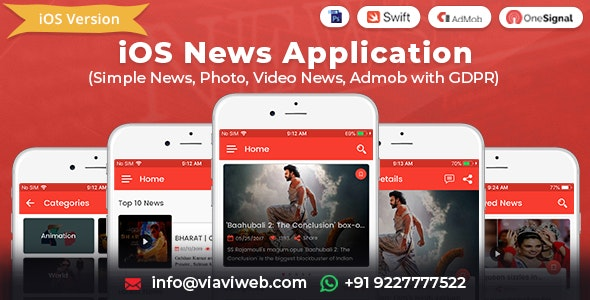 iOS News Application (Simple News, Photo, Video News, Admob with GDPR) - CodeCanyon Item for Sale