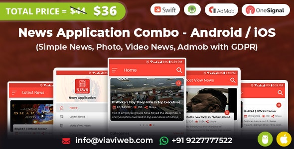 News Application Combo - Android / iOS (Simple News, Photo, Video News, Admob with GDPR) - CodeCanyon Item for Sale