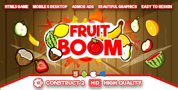 Fruit Boom - HTML5 Game (.capx) and Android (.apk)