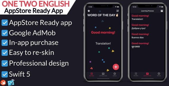 One Two English - Language learning iOS app