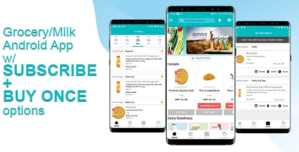 Grocery & Daily Needs Delivery Android App - Milkbasket Clone with Subscription Option & PHP Backend - CodeCanyon Item for Sale