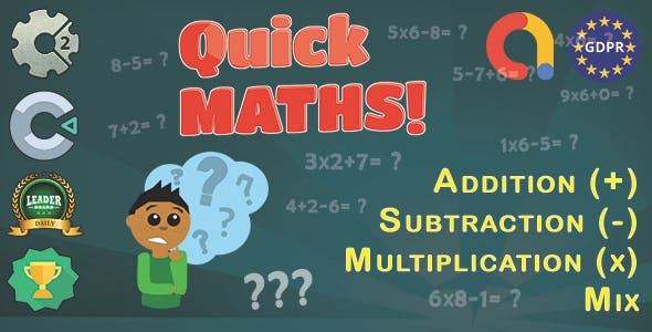 Quick Maths - HTML5 Game + Mobile Version + ADMOB-GDPR + Leaderboard + Achievement (Construct 2/3)