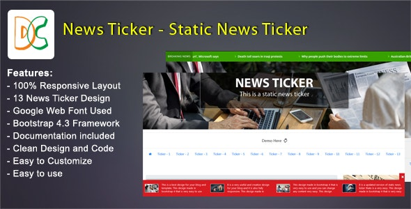 News Ticker - Static Breaking News - CodeCanyon Item for Sale