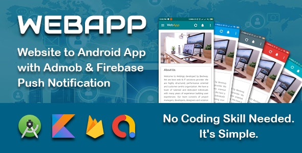 WEBAPP - Website to App Template with Admob and Push Notification Panel - CodeCanyon Item for Sale