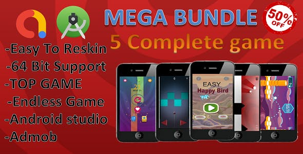 5 complete game bundle .(Android Studio+Admob) MEGA OFFER  $15 till 29 Feb 2020