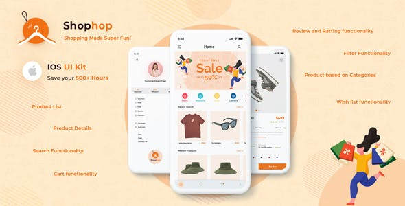 Shophop iOS – eCommerce App UI Templates Swift 4