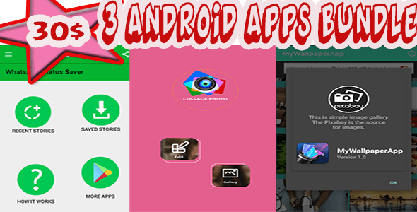 Top 3 Android Apps Bundle (WhatsApp Saver, Wallpaper, Photo Maker)